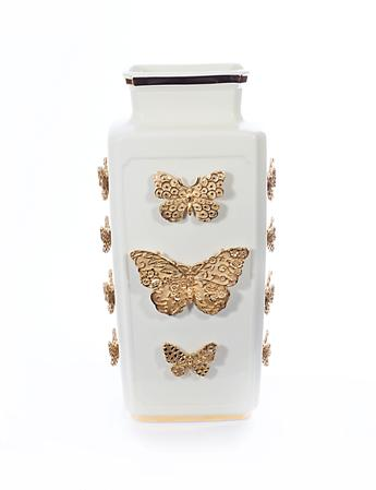 Myra Porcelain Rectangular Butterfly Vase - Gold