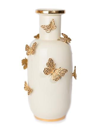 Heather Porcelain Rounded Butterfly Vase - Gold