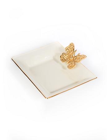 Velma Porcelain Butterfly Tray - Gold