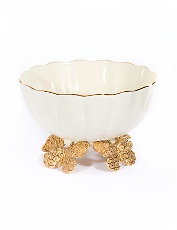 Catalina Porcelain Fluted Butterfly Bowl - Gold
