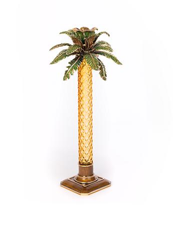 Kiana Palm Leaf Jeweled Glass Candlestick -Bouquet