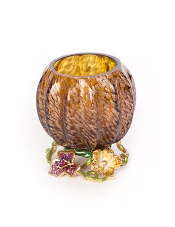Carmella Leaf & Flower Jeweled Votive - Bouquet