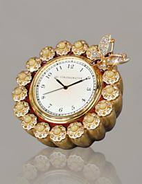 Maiti Flower Edge Butterfly Clock - Golden