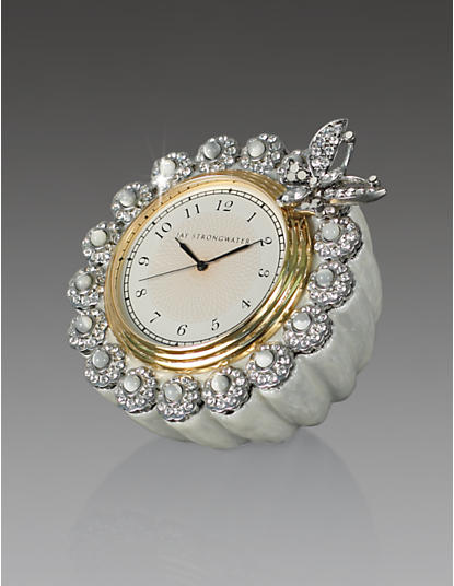 Maiti Flower Edge Butterfly Clock-Crystal Pearl