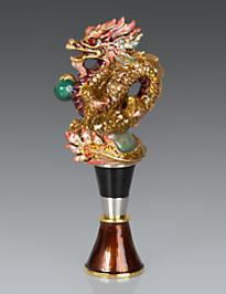 Sullivan Dragon Wine Stopper & Stand - Chinoiserie