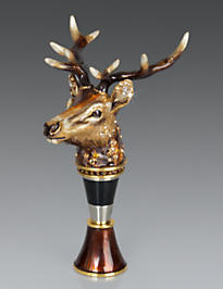 Owen Stag Head Wine Stopper & Stand - Natural