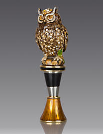 Hector Owl Wine Stopper & Stand - Natural