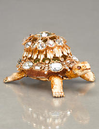 Emory Multi-Jewel Turtle Box - Golden