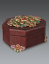 Jacinta Octagonal Leather Box - Spice