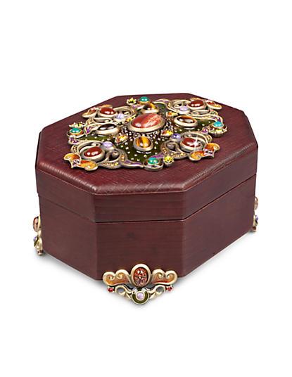 Jacinta Octagonal Leather Box - Spice