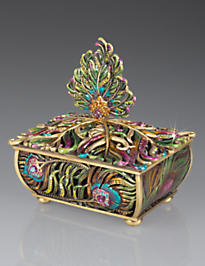 MacKenzie Peacock Feather Box - Peacock
