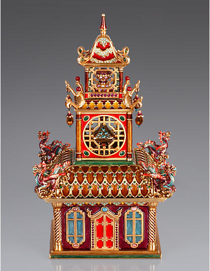 Olympia Large Triple Pagoda Box - Chinoiserie