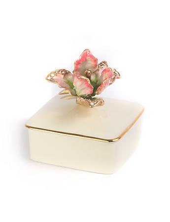Lainey Tulip Porcelain Box - Rose Celadon