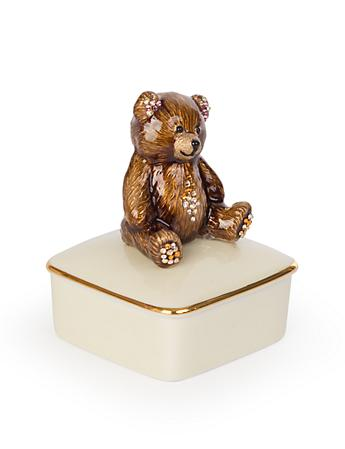 Roman Teddy Bear Porcelain Box - Natural