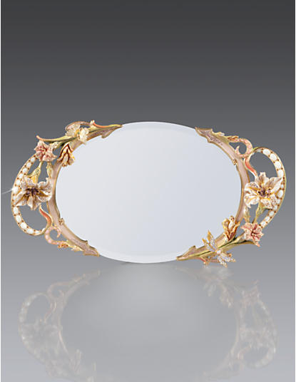 Veronique Floral Mirror Tray - Boudoir