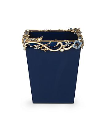 Devon Floral Scroll Wastebasket - Delft Garden