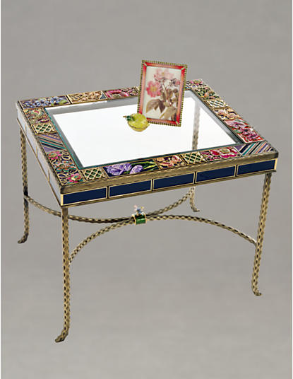 Jude Rectangular Bronze Tile Table - Flora