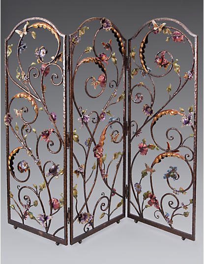 Celeste Flora & Fauna 3-Panel Room Screen - Jewel