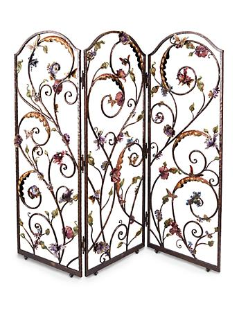 Celeste Flora & Fauna 3-Panel Room Screen - Jewel