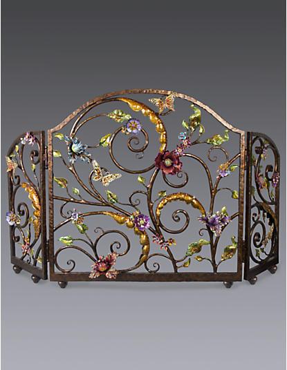 Vincente Flora & Fauna Fireplace Screen - Jewel