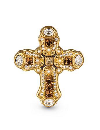 Christian Medieval Cross Pin/Pendant - Amber
