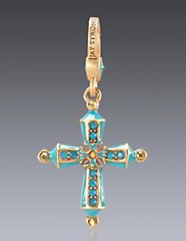 December Birthstone Cross Charm
