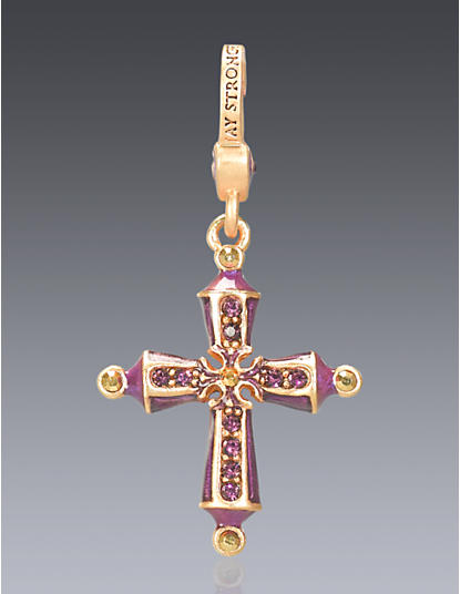 February Birthstone Cross Charm
