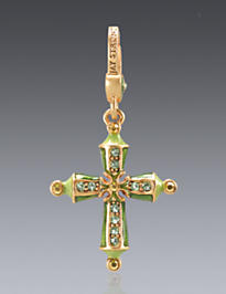 August Birthstone Cross Charm