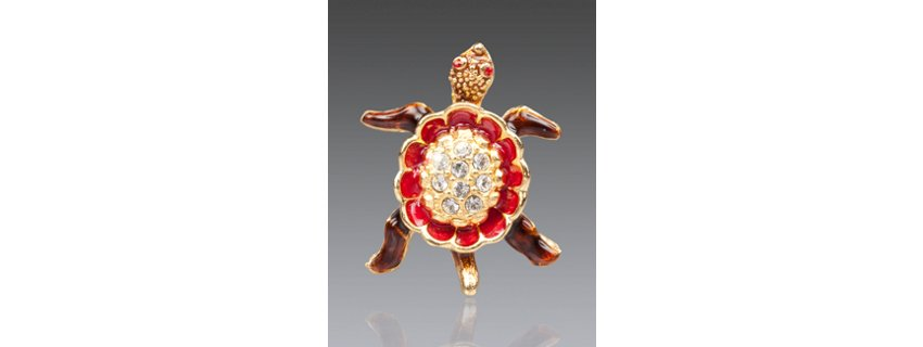 George Turtle with Pave Shell Tack Pin - Siam