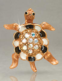 George Turtle with Pave Shell Tack Pin - Flora