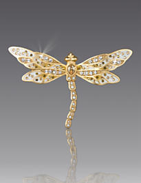 Candice Bejeweled Dragonfly Pin - Golden