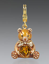 Simon Teddy Bear with Heart Charm - Natural