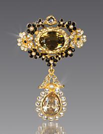 Malia Mille Fiori Drop Pin - Jet Crystal