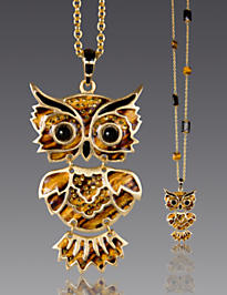 Addison Owl Pendant Necklace - Tiger's Eye