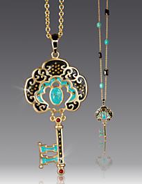 Merrill Key Pendant Necklace - Turquoise