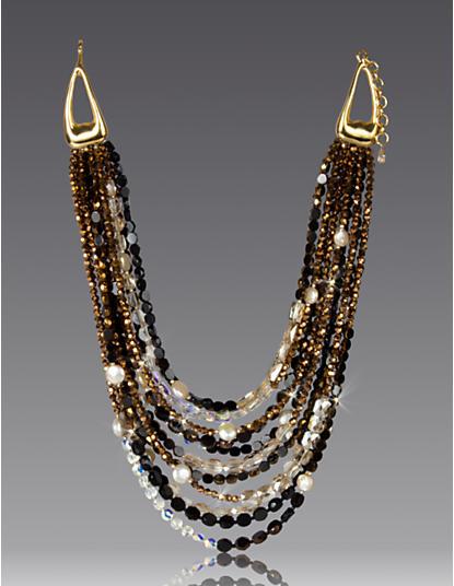 Gabrielle Twelve-Strand Bib Necklace - Bronze