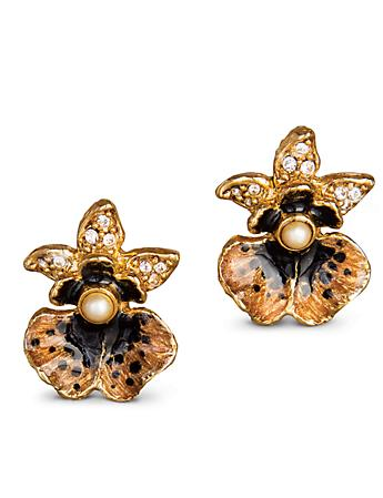 Anastasia Orchid Post Earrings - Bronze