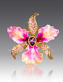 Clarice Large Orchid Pin - Flora
