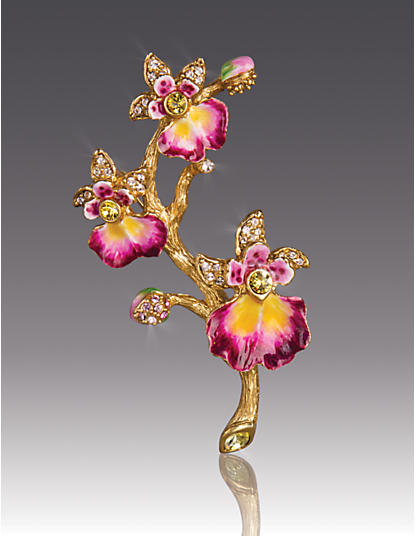 Halie Orchid Branch Pin - Flora