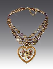 Nicolette Floral Heart Pendant Necklace - Bronze