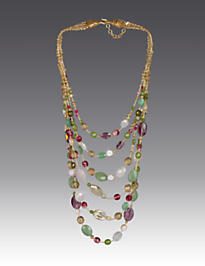 Mallory Six-Strand Bib Necklace - Flora