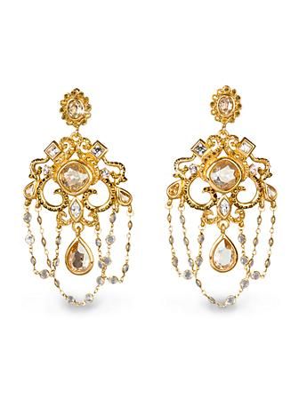 Chandelier Clip Earrings - Golden