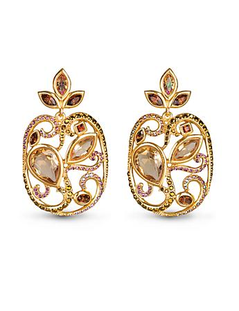 Cushion Scroll Clip Earrings - Amber