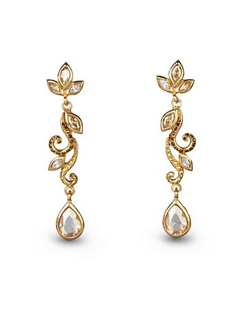 Long Scroll Post Earrings - Golden