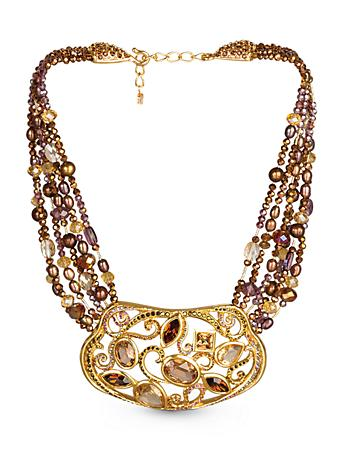 Jeweled Centerpiece Necklace - Bronze