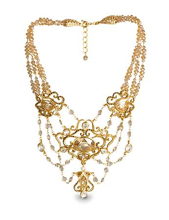 Cascading Jeweled Necklace - Golden