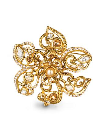 Large Flower Scroll Pin - Golden