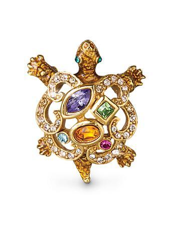 Small Turtle Scroll Pin - Jewel