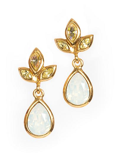 Pear Drop Post Earrings - Pale Yellow