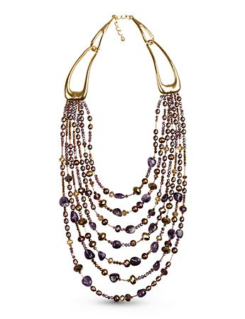 Seven-Strand Beaded Necklace - Amethyst